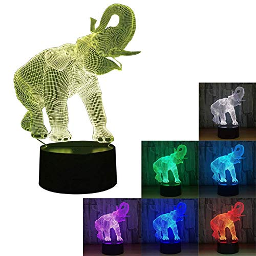 Novelty Lamp, 3D LED Night Light Illusion Lamp Elephant Pattern Three-Dimensional 7 Color Change Decor Lamp Touch Switch,Ambient Light by LIX-XYD (Image #2)