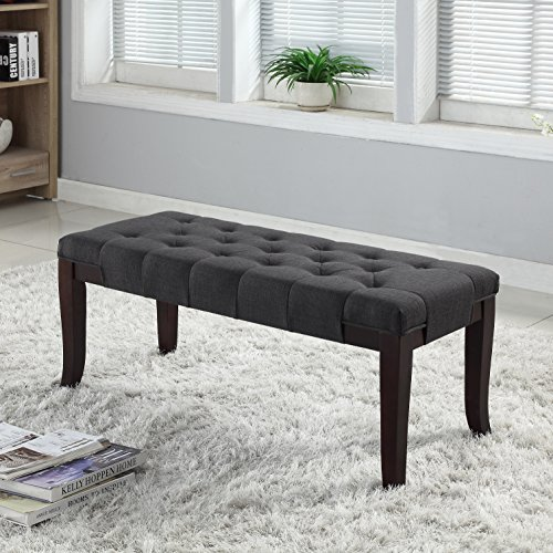 Roundhill Furniture Linon Grey Fabric Tufted Ottoman Bench, Gray by Roundhill Furniture