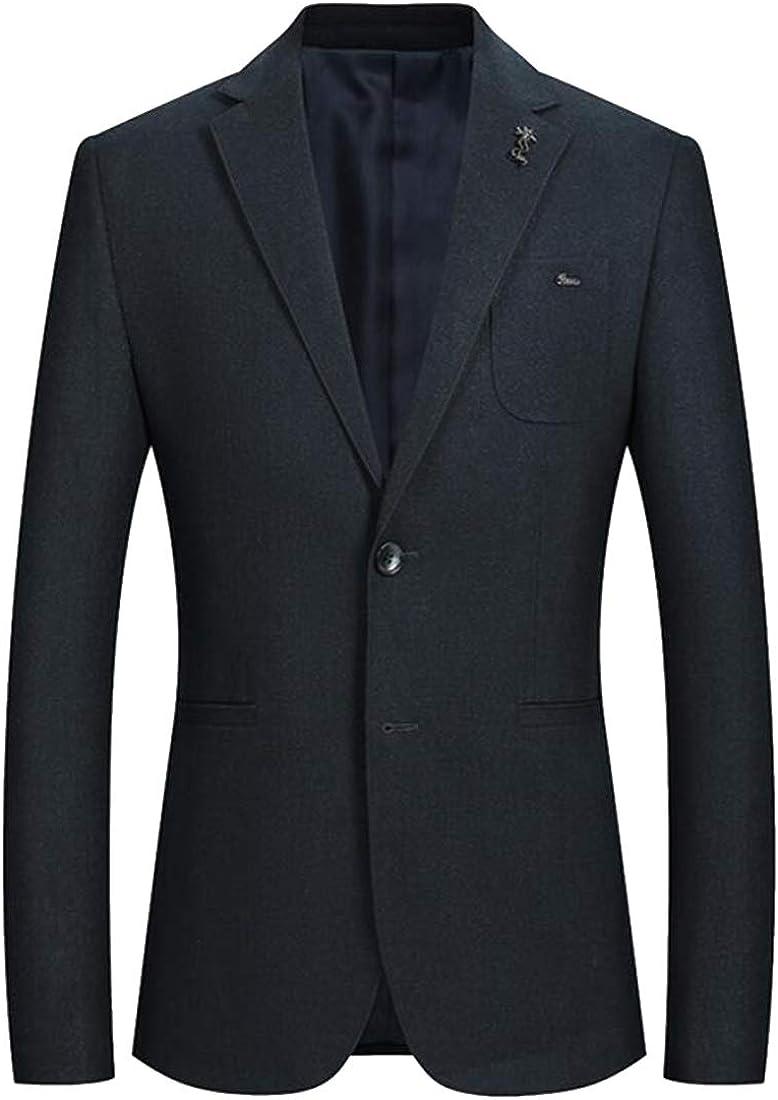 XTX Men Turn Down Collar Business Regular Fit Casual Two Button Thicken Blazer Jacket Coat
