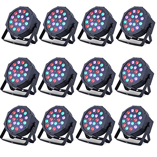 12 Pack LED DMX Stage Lights LED Par Light 18X3Watt LEDs RGB Lighting Modes DMX Light Controlled Sound for Club Party Show DJ Church Diso KTV
