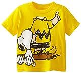 Peanuts Little Boys' Toddler Short Sleeve T-Shirt, Yellow, 5T