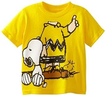 Peanuts Little Boys' Toddler Short Sleeve T-Shirt, Yellow, 2T