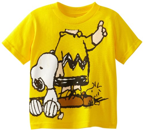 Peanuts Charlie Toddler Costumes (Peanuts Little Boys' Toddler Short Sleeve T-Shirt, Yellow, 5T)
