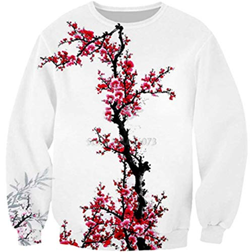 Hoodies Men's Women's Hooded Sweatshirt Cherry Blossoms Flowers 3D Print Hoody Color as The Picture XXL ()