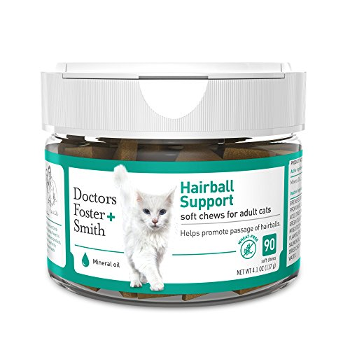 Doctors Foster + Smith Hairball Support Soft Chew for Cats, 90 count