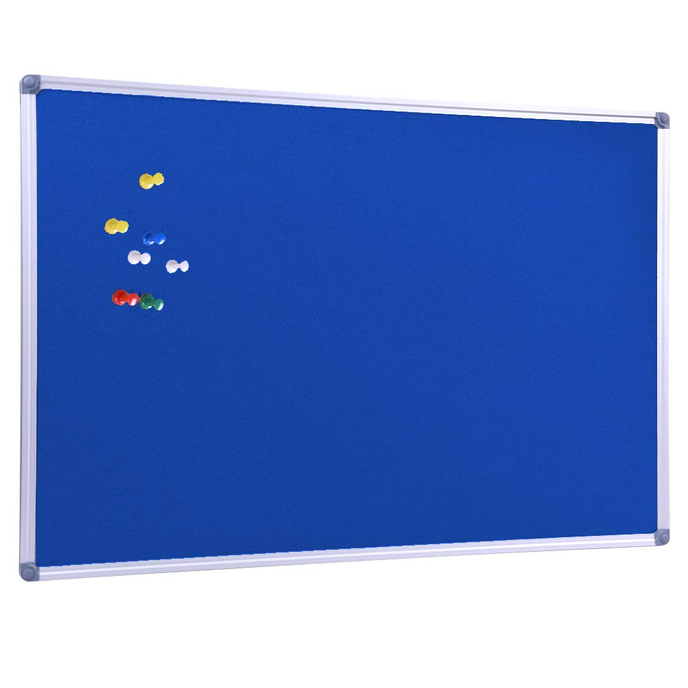 Aluminum Framed Wall Mounted 48 x 36 Inch Blue Fabric Bulletin Board Message Noteboard for Home Office School, Blue