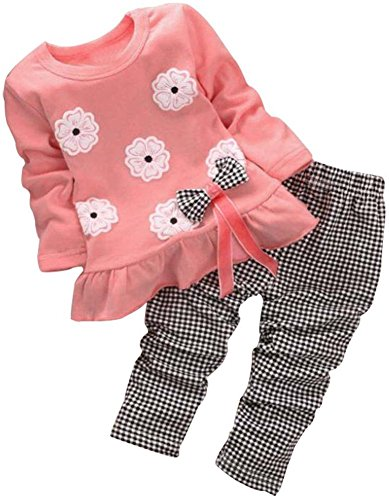 BomDeals Adorable Cute Toddler Baby Girl Clothing 2pcs Top&Pants Winter Outfits (Age(4T), Flower/Pink) for $<!--$16.88-->