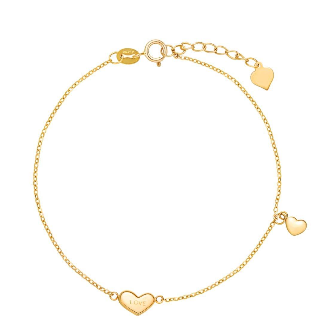 Carleen 18K Solid Yellow Gold Heart Love Delicate Bracelet Dainty Fine Jewelry Bracelets for Women Girls, 7 inch by Carleen