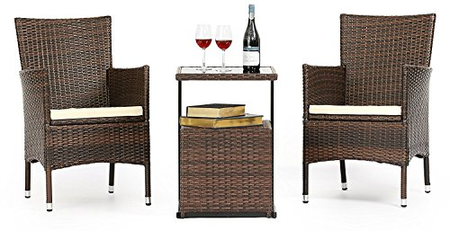 LAHAINA 3 Piece Wicker Bistro Set - All Weather Outdoor Dining Chairs Set of 2 & C Shaped Side Table W/ Portable Storage | Incl. Zippered Seat Cushion & Necessary Tools (Dining Table Portable Set)