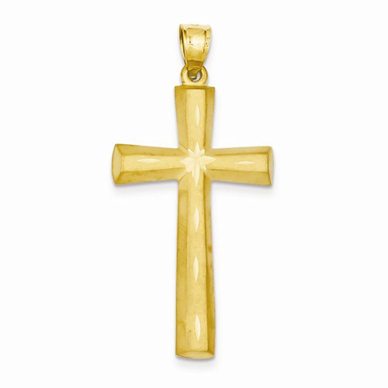 14K Yellow Gold Satin and Diamond Cut Finish Cross Pendant