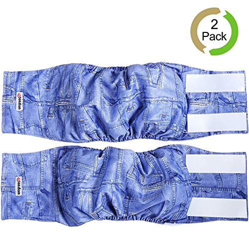 wegreeco Jeans Washable Male Dog Diapers (Pack of 2) - Washable Male Dog Belly Wrap (Large - 20- 23.5 Waist)