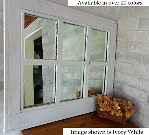 Renewed Décor 6 Pane Herringbone Reclaimed Wood Mirror in 20 Paint colors - Large Wall Mirror - Rustic Modern Home - Home Decor - Mirror - Housewares - Woodwork - Frame - Painted Mirror (6 Pane Window Mirror)
