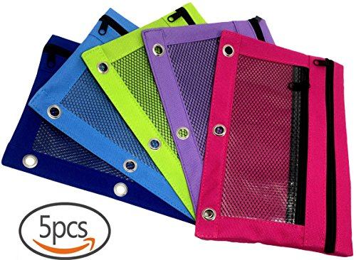 Pencil Pouch with 2 Pockets, Fits 3 Ring Binder Zippered Pocket, Clear Transparent Mesh Window, Pencil Pen Holder Case Canvas Fabric Bag, in 5 Cool Colors for Boys Girls and Kids (5-Pack)