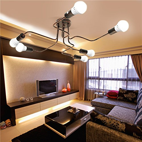 Hitommy E27 6Heads Vintage Industrial Chandelier Pendant Light Metal Flush Mount Ceiling Lamp AC110-240V - Bronze
