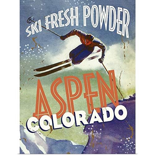 Aspen Ski Posters - GREATBIGCANVAS Poster Print Entitled Aspen Colorado Ski Fresh Powder Vintage Advertising Poster by 12