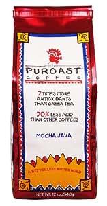 Puroast Low Acid Coffee Mocha Java Flavored Coffee Whole Bean, 0.75 Pound Bag