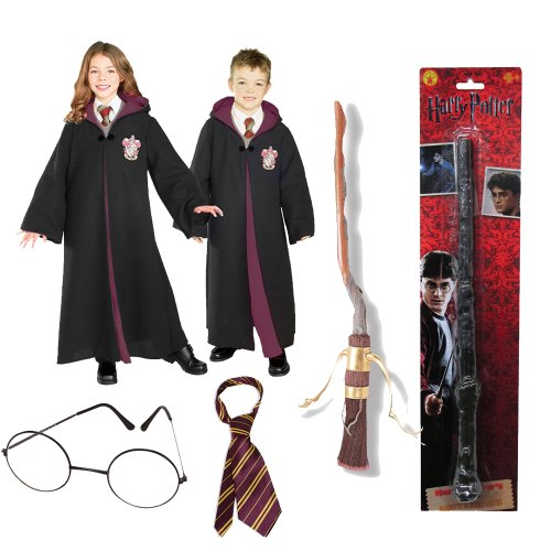 Harry Potter Child Costume with Robe, Tie, Glasses, Broom and Wand - Large - Ron Burgundy Costume For Kids