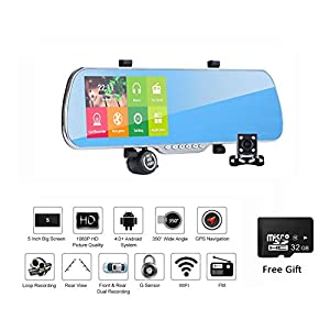 Dash Cam Rearview Rear Mirror, Dual Lens 5 inch Touch Screen Android GPS Navigation FHD 1080P Camera Car DVR, Dual Lens Rearview Mirror Rotate GPS WiFi FM 32GB Card