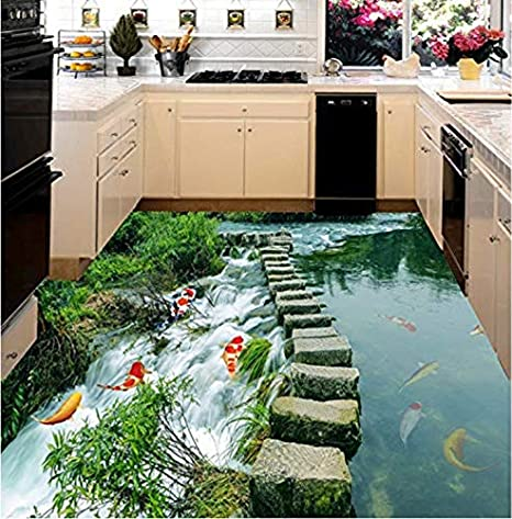Sykdybz 3D Wallpaper Floor for Living Room Fish Liver 3D Wall Murals Wallpaper Floor Custom Photo Self-Adhesive 3D Floor, 400x300cm - - Amazon.com