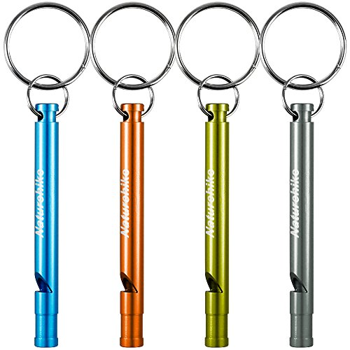 Aluminum Whistles, FineGood 4 Pack Emergency Survival Whistles with Key Ring Chain for Sport Referee Hiking Camping Climbing