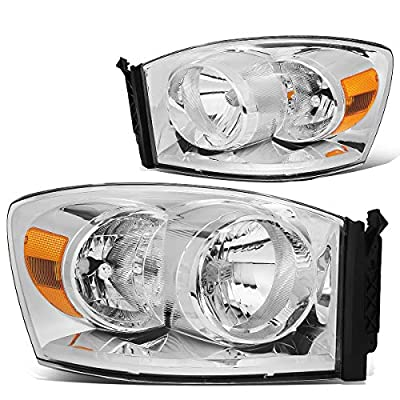 Pair Chrome Housing Amber Side Front Bumper Driving Headlight Lamps Replacement for 06-09 Dodge Ram Truck: Automotive