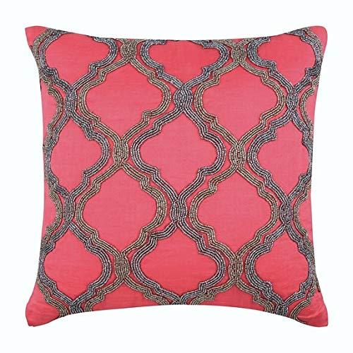 Designer Coral Pillow Shams, Beaded Lattice Trellis Pillow Sham, 24