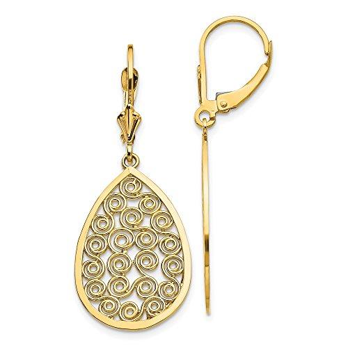 14k Yellow Gold Teardrop Filigree Drop Dangle Chandelier Leverback Earrings Lever Back Fine Jewelry Gifts For Women For Her ()