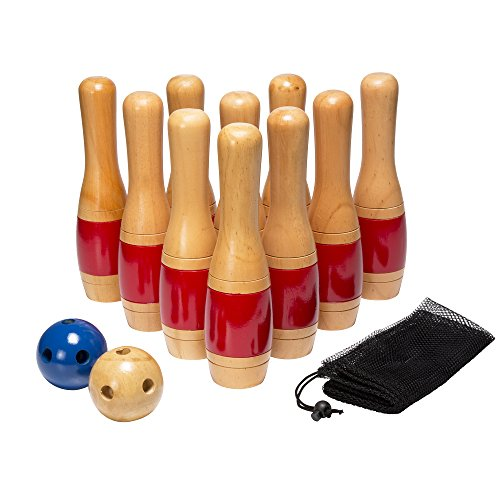 Lawn Bowling Game/Skittle Ball- Indoor and Outdoor Fun for Toddlers, Kids, Adults -10 Wooden Pins, 2 Balls, and Mesh Bag Set by Hey! Play! (11 -