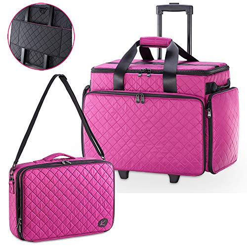 KIOTA - 2 in 1 Makeup Artist Case Set on Wheels, Soft Cosmetic Case with Trolley, Removable Clear Bags, Dividers, Dural Layers Makeup Box (Orchid)