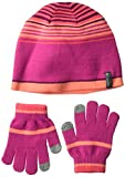 Columbia Little Girls Youth Hat and Glove Set, Deep Blush, One Size