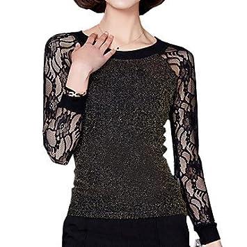 Mujer Camisas y blusas Spring Plus Size mujer encaje bordado seda brillante de Splice de manga