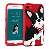 iPhone 8 / iPhone 7 Case DesignSkin WITTY LOOK 3D Cute Puppy Dog Pet Protective Shock Absorbing Anti-Slip Flexible Soft Silicone Cover, For iPhone 8/7 Compatible w/ iPhone 6s/6 (Red & French Bulldog)