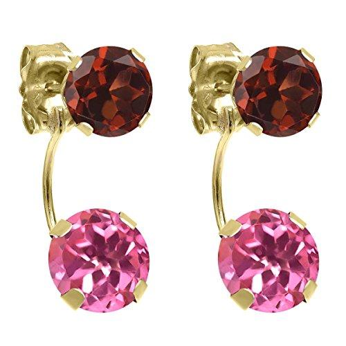 & Pink Garnet Earrings Topaz (3.20 Ct Round Pink Mystic Topaz Red Garnet 14K Yellow Gold Earrings)