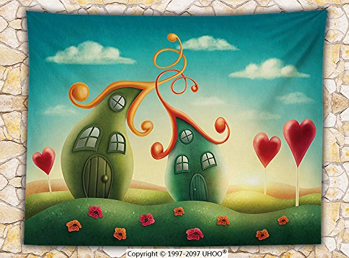 Teen Girls Decor Fleece Throw Blanket Fantasy Houses In The Meadow Heart Shaped Trees Dreamy Countryside (Elvis Side Burns)
