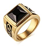 Men's Handsome Vintage Black Square Agate Gemstone Stainless Steel Ring Band , Silver