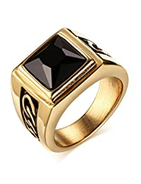 Mealguet Jewelry Stainless Steel Vintage Men's Ring with Agate Gemstone, 2 Colors, Size 8,9,10,11,12