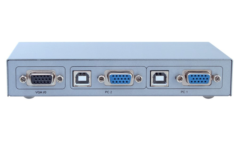 DTECH 2 Port VGA Switch with USB 2.0 and PS2 KVM Switcher (Control 2 PCs with just one Keyboard, Mouse, Monitor ) Supports Widescreen Display and up to 2048x1536 Resolution by DTech (Image #3)