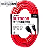 extension cord 12 3 - Otimo 100 ft 12/3 Outdoor Extra Heavy Duty Extension Cord - Professional Series - 3 Prong Extension Cord, Red