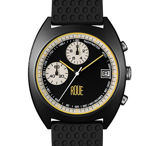 ROUE CHR Two Chronograph Watch, 1970s Racing Style, 41.5mm Black PVD Sand Blasted Stainless Steel case, Silicone + Soft Leather Straps, Sapphire Crystal with anti-reflective treatment - Mvmt Glasses