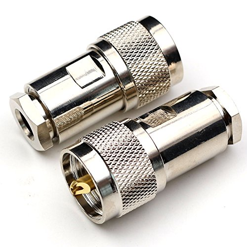 TEZON UHF Male Adapter PL-259 Clamp Connector for LMR300 RG5 RG6 Coaxial Cable RF Solder Straight Connector 2Pack