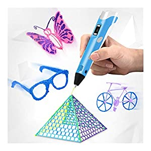Professional printing 3d pen, usb smart 3d drawing printer pen with 5 meters refills (color : yellow)