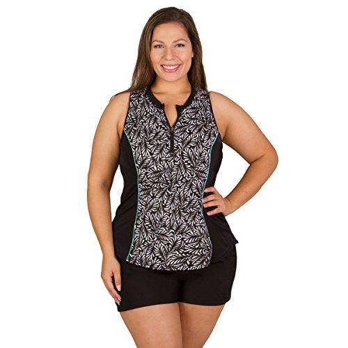 Fit 4 U Women's Plus-Size Twisted  Sleeveless Rashguard with Built-In Bra,Black,20W