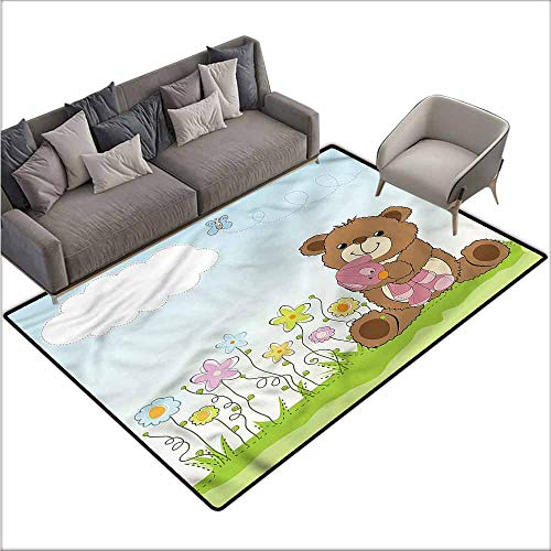 Floor Mats for Living Room Kids,Cartoon Teddy Bear and Toy 64