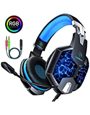 YINSAN Casque PS4 Gaming, Casque Gamer Xbox One avec Micro Anti Bruit Casque Gaming RGB LED Lampe Stéréo Basse Microphone Réglable avec Micro 3.5mm Jack pour PC Laptop Tablette Smartphone