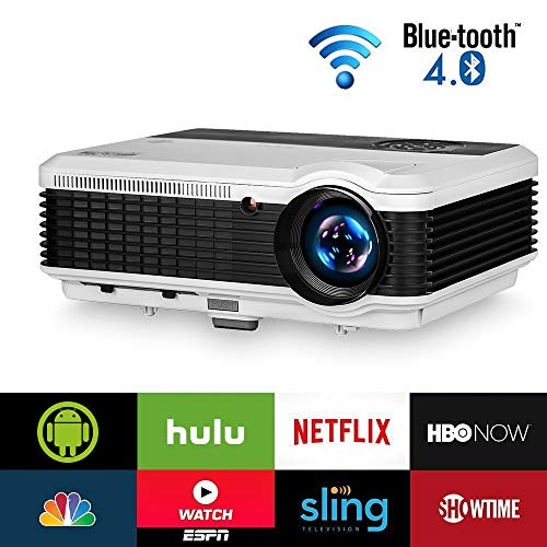 Wireless Bluetooth HDMI Projector 1080P Home Theater 2019 Smart Android 6.0 LCD LED Multimedia Video Projectors 4600 Lumen Outdoor WiFi Proyector for PC Laptop USB Driver TV Stick PS4 Wii Xbox