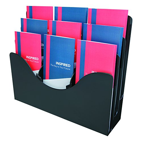 Deflecto 47634 Three-tier docuholder organizer with 6 removable dividers, black (Flat Upright 3 Rack 6)