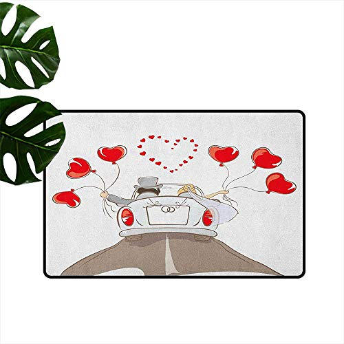 RenteriaDecor Wedding,American Floor mats Newlywed Couple in Vintage Car with Heart Shaped Balloons Drawing Art Print 18