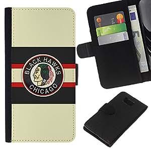 LECELL--Cuero de la tarjeta la carpeta del tirón Smartphone Slots Protección Holder For Samsung ALPHA G850 -- Chicago Blackhawk Hockey sobre hielo --