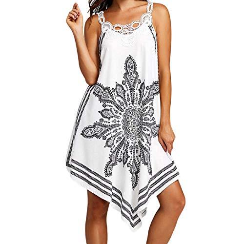 Clearance Sale! Wintialy Women Ladies Lace Splice Printing Sleeveless Mini Dress Summer Beach -