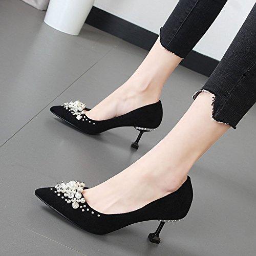 Xue Qiqi Brautschuhe spitze Wasser bohren wulstige hochhackigen Schuhe Schuhe Schuhe Satin Schuhe mit dünnen einheitlichen 29b4f9